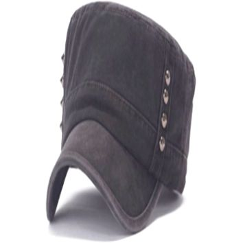 Women's Charcoal Chic Rivets Embellished Classic Style Military Style Hat