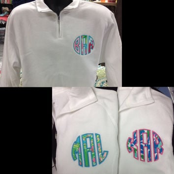 THANKSGIVING WEEKEND SALE Youth Custom, Appliqué Monogrammed  1/4 Zip Pullovers! Lilly Pulitzer Fabric