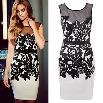 Fashion Hollow Out Lace All-match Slim Bodycon Bandage Dress Evening Party Clubwear = 1916880900