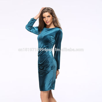 Europe Korea Hot Autumn Cocktail Dresses Velvet Plus Size Maxi Party Sexy Long Sleeve Slim Bodycon Dress