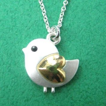 Baby Chicken Bird Animal Pendant Necklace in Silver with Heart Shaped Wings