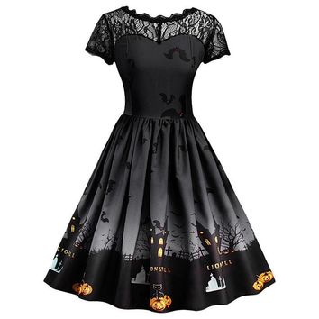 Fashion summer dress 2018 dress Women Short Sleeve Halloween Retro Lace Vintage Dress A Line Pumpkin Swing Dress vestido A15#N