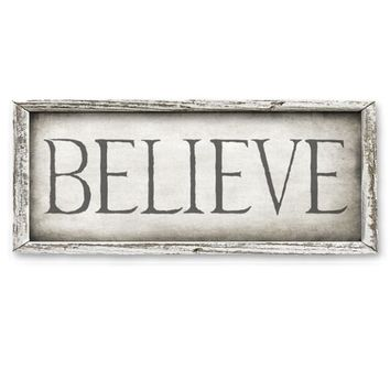 Rustic Wood Framed Shelf Art - BELIEVE - 15-in