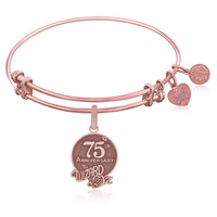 Expandable Bangle in Pink Tone Brass with 75th Anniversary Wizard of Oz Symbol