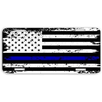 Thin Blue Line Police Officers Distressed USA Print License Plate Car Tag