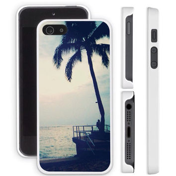 iPhone 4 case, iPhone 4S case, iPhone 5 case, iPhone 5S case - Evening Beach Palm Tree