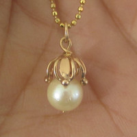 Antique Victorian 14k Rose Gold Pearl Pendant Necklace Wedding Bridal Jewelry Beaded Necklace