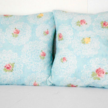blue floral pillow covers rose design pink and yellow flowers 16 X 16 inch
