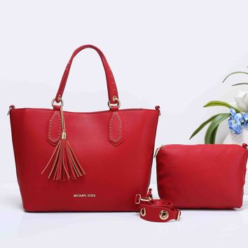 MK MICHAEL KORS Women Shopping Bag Leather Tote Handbag Shoulder Bag Two Piece Set Red G-XS-PJ-BB