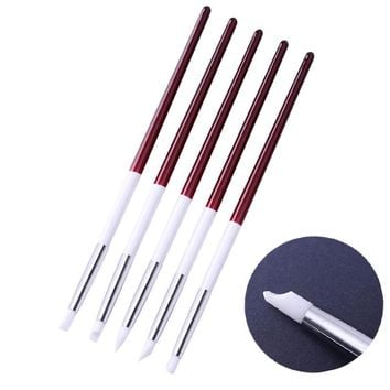 5 Pcs Silicone Head Sculpture Carving Nail Brush Set Wooden Handle Painting Pen for 3D Effect Shaping Drawing Tools