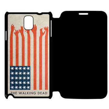 the walking dead america flag Samsung Galaxy Note 4 Flip Case Cover