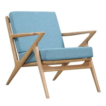 Zig-Zag Mid-century Modern Accent Chair Dodger Blue