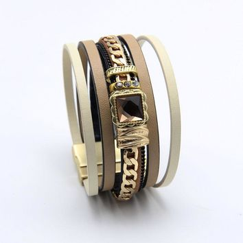 ZG Latest Genuine leather bracelet for man and women with gold color chain charms Magnetic buckle fashion bracelet jewelry