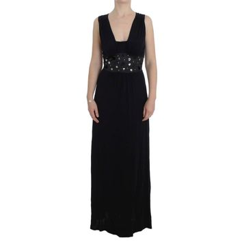 Roccobarocco Black Viscose Long Maxi Shift Crystal Dress