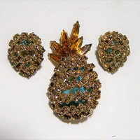 Alice Caviness Rhinestone Pin Earrings, Pineapple Jewelry Set, Amber Blue Glass Stones, Clip On Style, Gold Tone Setting, Mid Century 218