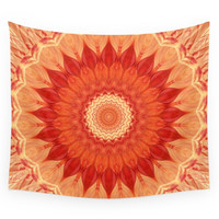 Society6 Mandala Orange Red Wall Tapestry
