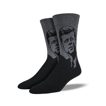 Novelty Socks JFK CHARCOAL HEATHER Fabric Cotton Crew President Mnc418 Chh