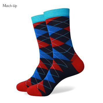 Match-Up  men colorful combed cotton Crew socks argyle style