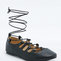 Sophia Black Lace-Up Ballerina Flats - Urban Outfitters