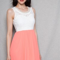 Style Rack Sleeveless Lace Combo Dress With Beaded Neckline - Coral