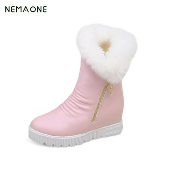 NEMAONE Hot Sale Shoes Women Boots Solid Slip-On Soft Cute Women Snow Boots Round Toe Flat with Winter Fur Ankle Boots