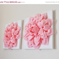 "MOTHERS DAY SALE Two Wall Flowers -Light Pink Dahlias on White and 12 x12"" Canvas Wall Art- Baby Nursery Wall Art"