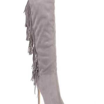 Grey Fringe Pointy Toe High Heel Boots Faux Suede