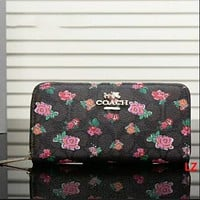 COACH Zipper Women Leather Purse Wallet Flower coffee Print I-LLBPFSH