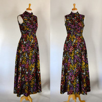 60s Polyester Maxi Dress / Boho Chic Maxi Dress / Floral Maxi Dress / 70s Maxi Dress / Graphic Polyester Maxi Dress