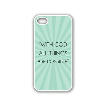 Quote - With God All Things Are Possible Teal Rays iPhone 5 White Case - For iPhone 5/5G White - Designer TPU Case Verizon AT&T Sprint