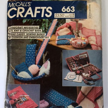McCalls Crafts 663 Needlecraft Necessities Crafts Bags Caddy Tote Sewing Pattern Uncut Vintage