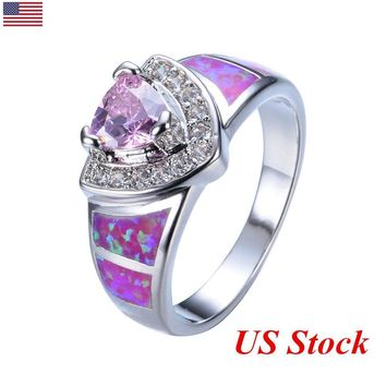 US Pink CZ Jewelry Hot Pink Fire Opal Women Wedding Ring Engagement Band Rings