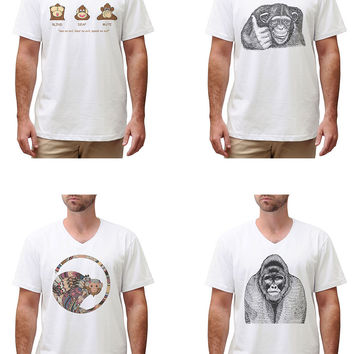 Men Hand Draw Monkeys Graphic Printed Cotton Short Sleeves T-shirt MTS_02