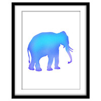 Blue Elephant, Mosaic Art, Kid's Art, Printable Poster, Blue Room, Nursery Art, Boy's Room, Wall Art