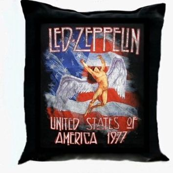 Vintage LED ZEPPELIN Art Black Pillow 15.5""