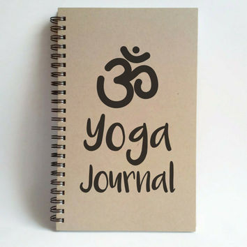 Yoga Journal, 5x8 writing journal, custom spiral notebook, personalized brown kraft memory book, small sketchbook, scrapbook