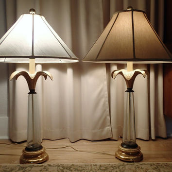 Hollywood Regency Palm leaf, Murano glass Table Lamps sold as pair, Florida Glam Beachy Tiki