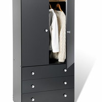 Black Edenvale 3 Drawer Wardrobe