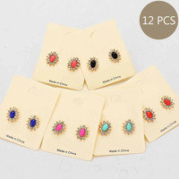 Stud Floral Crystal Earrings (12 Pair Set)