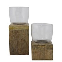 Pre-owned Rustic Wood & Glass Hurricanes - A Pair