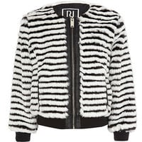 River Island Girls black stripe faux fur coat