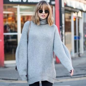 Autumn and winter women's style super loose high collar long paragraph wild pullover sweater women