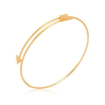 The Stackable Bangle - Overlapping Arrow in 14k Yellow Gold