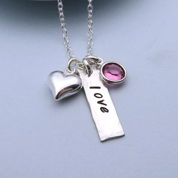 'Love' Hand-Stamped Pendant Necklace - Heart Charm & Choice of Crystal
