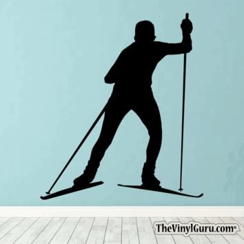 Skiing Wall Decal - Ski Sticker #00021