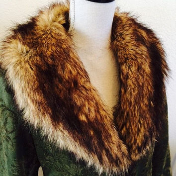 Womens M Olive Green 1960s-1970s Style Coat with Faux Fur Collar