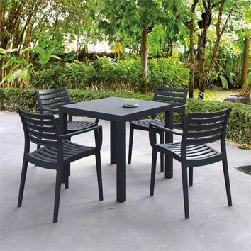 Ares Resin Square Dining Set with 4 chairs Dark Gray