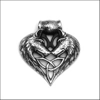 Large Viking Inspired Wolf Spirit Love Stainless Steel Pendant with Black Accents