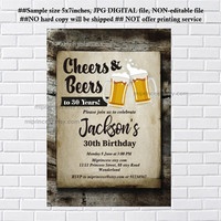 Beer invitation, Birthday Invitation, Party Invitation cheers and beers for any age , men birthday invitation Card Design - card 1212