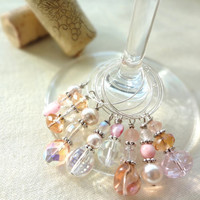Shabby Chic Pink and White Wine Glass Charms by SecondEditionJewelry